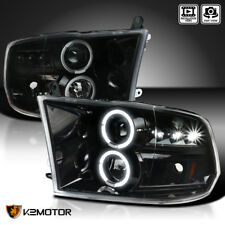 [Jet Black] 2009-2018 Ram 1500 2500 3500 LED Dual Halo Projector Headlights Pair