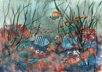 FISH ON CORAL REEF Acrylic Painting M SMITHER c1980
