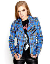 TRIPP ROYAL TARTAN PLAID PUNK ROCKER BIKER MOTORCYCLE WILD CHILD JACKET