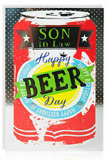 SON IN LAW Birthday Greetings Card - Beer Can Silver Foil Modern -ATB5036-1