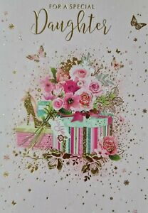 FOR A SPECIAL DAUGHTER  - DAUGHTER BIRTHDAY CARD (FLOWERS)