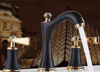 Bathroom Vanity Sink 3 Hole Two Handles Widespread Faucet , Antique Black+Gold