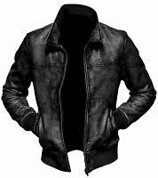 Men's Biker Motorcycle Vintage Distressed Brown/Black Bomber Real Leather Jacket