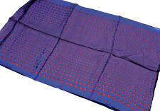 "Women's Double Layered 100% Silk Scarf / Blue / Polka-dot / 70"" X 21"""