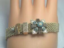 "Antique Mesh Bracelet Blue Black Enamel 30.5 Gram Fits 7"" Pearl 14K Yellow Gold"
