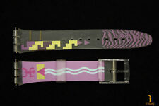 17mm  Purple/Yellow Tribal Design Clear PVC Watch Band Strap fits SWATCH watch