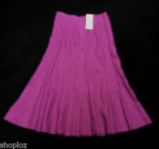 M&S Classic Pure Linen Panelled Flared Skirt Dark Violet Bnwt £39.50 Free Post