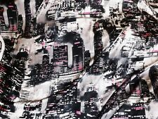 tissu satin imprime new york gris/noir/rose 100x140 cm