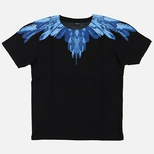 Marcelo Burlon Blue Feathers Wings T-Shirt   Size XS Relaxed fit