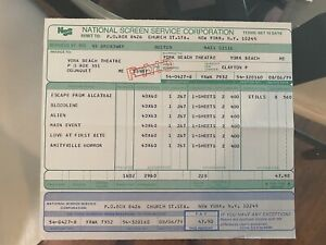 1979 Alien 40x60 and One Sheet Original Theater Poster Invoice