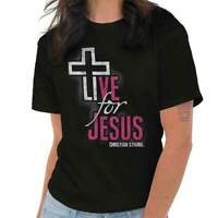 Live For Jesus Christ Christian Religious Gift Hope God Ladies T Shirt Tee