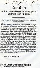 Alter Druck Circulare Rundschreiben 1837 Wien Regierungsrath Joseph Felner