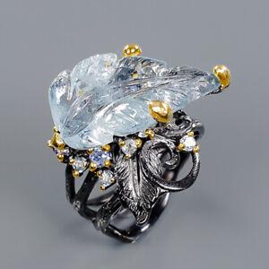 Aquamarine Ring Silver 925 Sterling Jewelry Handmade Size 8 /R140932
