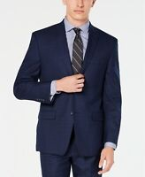 Andrew Marc Men's Modern-Fit Navy Plaid Suit Jacket 44R Jacket ONLY