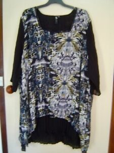 Quality Sue NEW!!CRUSHED LINED TAKING SHAPE 3/4/sl TOP/TUNIC Plus size 24-30