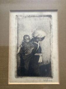 """Emil ORLIK (1870-1932) """"Mutter mit Kind """" Radierung"""