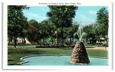 Early 1900s Fountain in Wilson Park, Eau Claire, WI Postcard