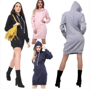 Women Ladies Long Hooded Hoodie Zip Up Pocket Jumper Fleece Coat Sweatshirt top