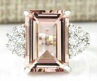 Huge Morganite Women 925 Silver Gemstones Ring Engagement Wedding Jewelry 6~10