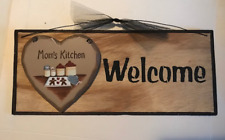 Heart WELCOME MOM'S KITCHEN country farmhouse Mom mother gift home wooden sign