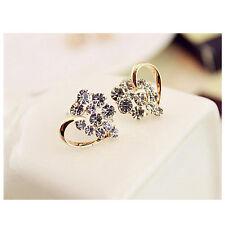 1 Pair Fashion Women Lady Elegant Crystal Rhinestone Heart Ear Stud Earrings