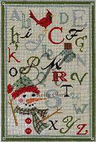 Needlepoint Handpainted Christmas KELLY CLARK ABC Winter Linen Sampler