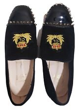 Christian Louboutin Men's Loafer Spikes Black Leather Flat Slip On Shoes Size 45
