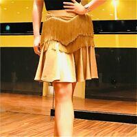 Women Latin Dance Fishtail Skirt Tassels Fringe Dress Salsa Tango Ballroom Rumba