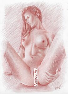 ORIGINAL Nude Female DRAWING Pincel Charcoal Pastel Fine Art naked woman Girl