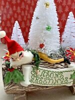Vintage Mid Century Christmas Bottlebrush Tree Santa Claus Yule Log Assemblage