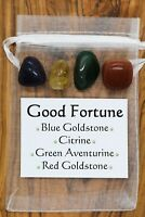 Good Fortune Crystal Gift Set Citrine Green Aventurine Red Blue Goldstone Luck