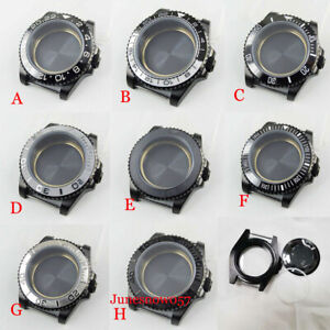Fit NH35A/NH36A 40mm Black PVD Plated Watch Case Flat Sapphire Ceramic Insert