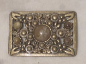 pre-owned ornate belt buckle faux stone vintage style design