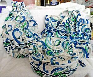 Vera Bradley ditty bag, hanging organizer, home and away in Mediterranean White