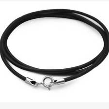 Black Leather Silver 2mm Necklace Lanyard Pendant Rope String Cord