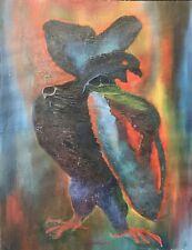Art contemporain l'oiseau signé A Massard peinture sur papier  XXe