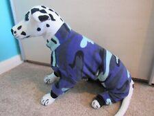"""Blue Camouflage. Polar Fleece Onsie/Dog Coat/Pajamas. XL- 20"""" L. 27"""" W. 20"""" neck"""