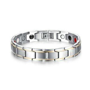 Fashion Magnetic Dad Son Men Bracelet Arthritis Healing Therapy Stainless Steel
