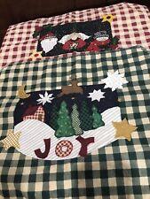 New listing Shabby Cottage Christmas Country Plaid Place Mats Joy, Angel, Santa, Snowman