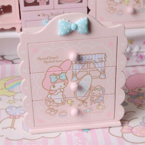 My Melody Pink Jewelry Box Women Makeup Wooden Storage Case Accessories Gift
