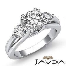 2ct Ideal Round Diamond Engagement 3 Three Stone Ring GIA F VS1 14k White Gold
