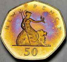 New listing 1980 Great Britain 50 New Pence Proof Toned Color Unc Striking Golden Blue (Dr)