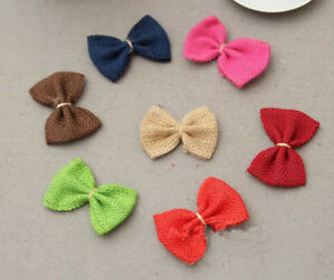 10pcs Natural Burlap Ribbon linen bow Trim Wedding clothing decoration 7CM