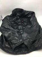 Levi Strauss Men's Polyurethane Faux  Leather Black Jacket 54163 Size XL