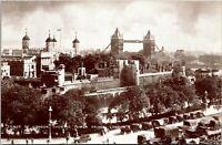 Vintage 1910's Tower of London, Showing Tower Bridge, London, England Postcard