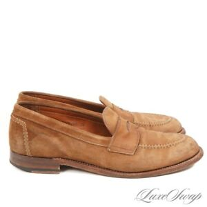 #1 MENSWEAR Alden Unipair Made in USA 96973F Wheat Suede Penny Loafers Shoes 8.5