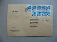 SWITZERLAND, railway expresse cover 1977, 9x landscape Riex 40 Rp, wine