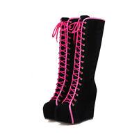 Chic Ladies UK punk gothic knee high boots wedge heels platform shoes size 2.5-7