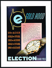 1950's Vintage 1953 Election Grand Prix Gold Hood Watch Mid Century Art Print AD