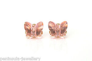 9ct Gold Pink Swarovski Crystal elements Butterfly studs Earrings, Gift boxed